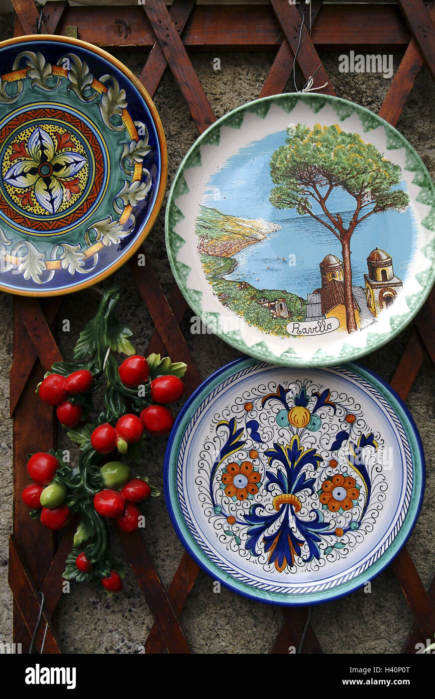 Italy K&anien Ravello shops sales handicraft plate hand-painted Europe Southern Europe Amalfi coast town sales souvenir sales souvenirs ... & Italy Kampanien Ravello shops sales handicraft plate Stock ...