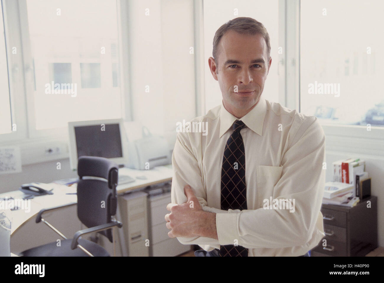 Office Businessman Contently Smile Half Portrait Office