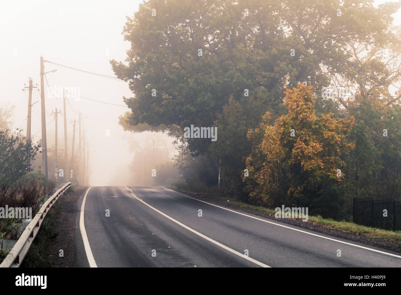 Empty rural highway in autumn foggy morning, stylized photo with warm tonal correction effect, old instagram style filter Stock Photo