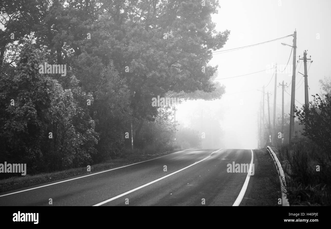 Empty rural highway in autumn foggy morning, black and white retro stylized photo Stock Photo