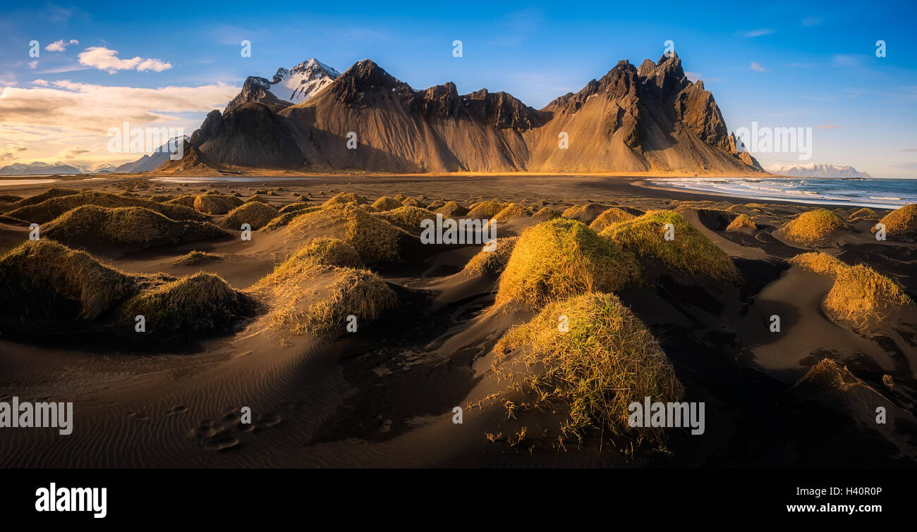 Panoramic view Stokksnes in Iceland Stock Photo