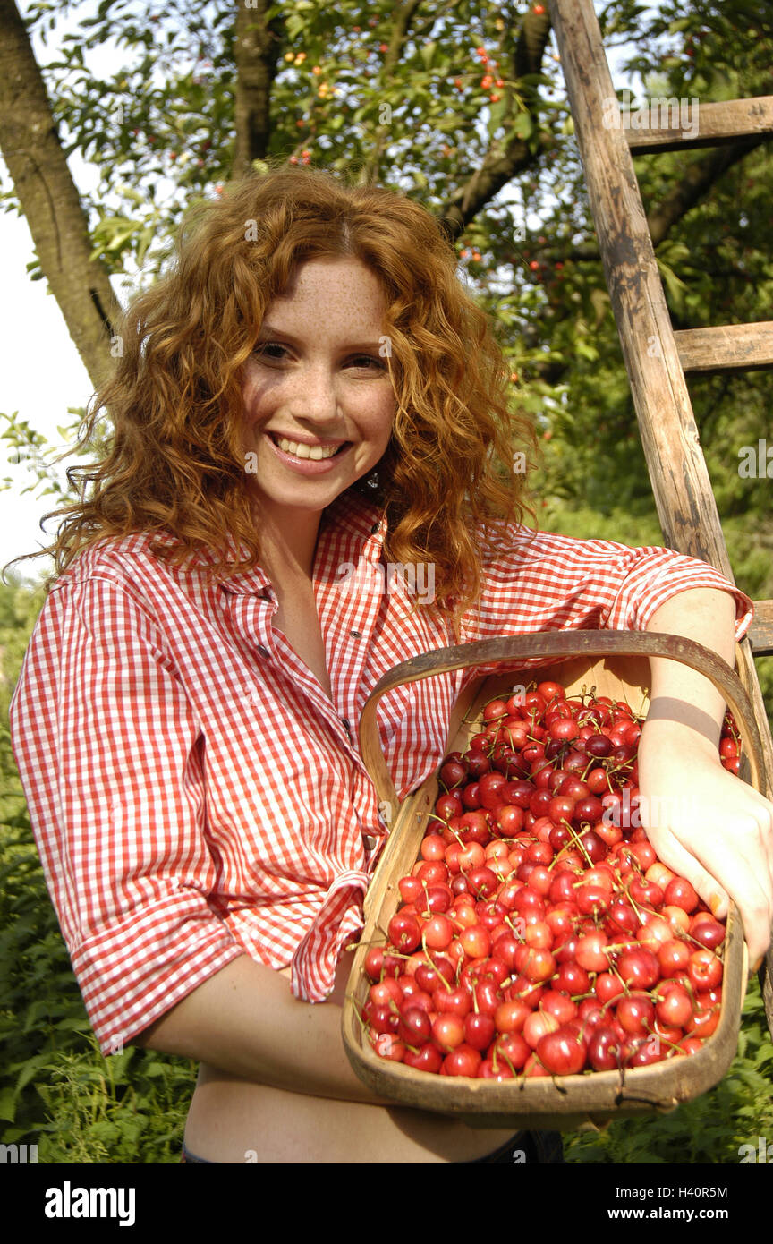 Garden, woman, young, smile, show basket, cherries, half portrait, redheads, red-haired, locks, happily, smile, - Stock Image