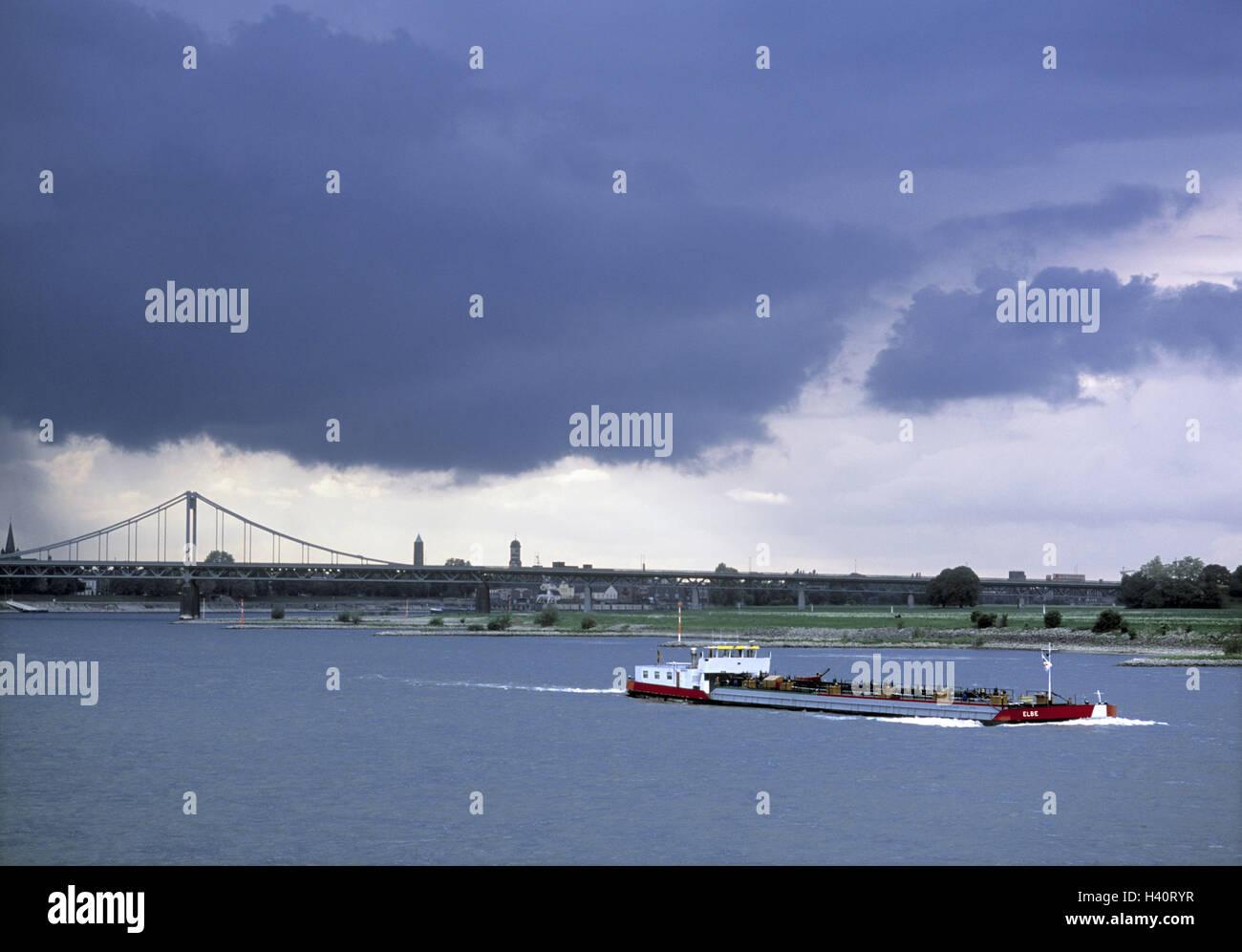 Germany, North Rhine-Westphalia, Rhine bridge, connection, Krefeld, Uerdingen, freighter, Europe, dysentery area, - Stock Image
