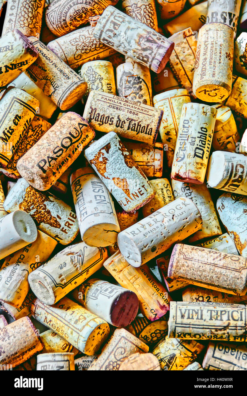 Corks of world's wines - Stock Image