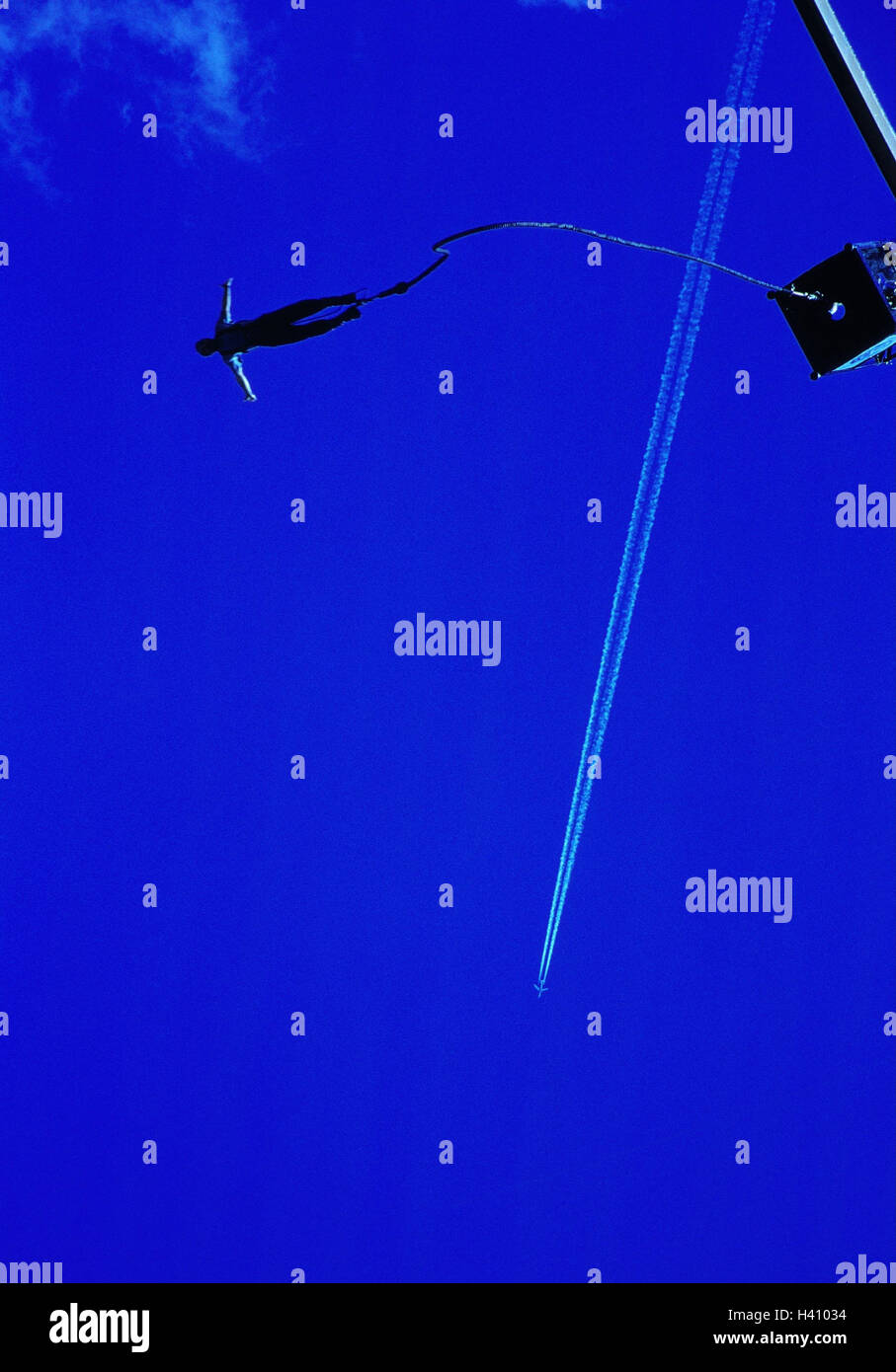 Bungeejumping, airplane, condensation trail, from below, outside, Bungee, Jumping, jumping, crack, fall, saved, Stock Photo