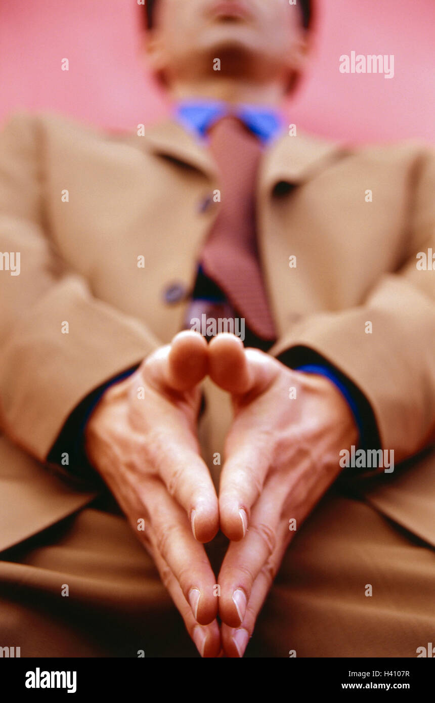 Wall, man, lean, hands, gesture, blur, detail, Ti5, curled, manager, Jung's entrepreneur, business, doubt, consider, - Stock Image