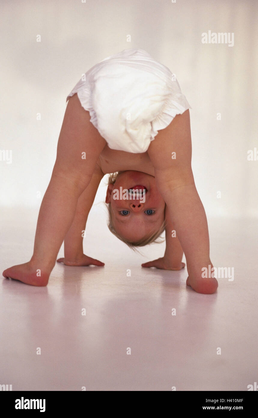 Baby, nappy, quadruped's state, view, bones child, infant, 1 - 2 years, development, development phase, fun, - Stock Image