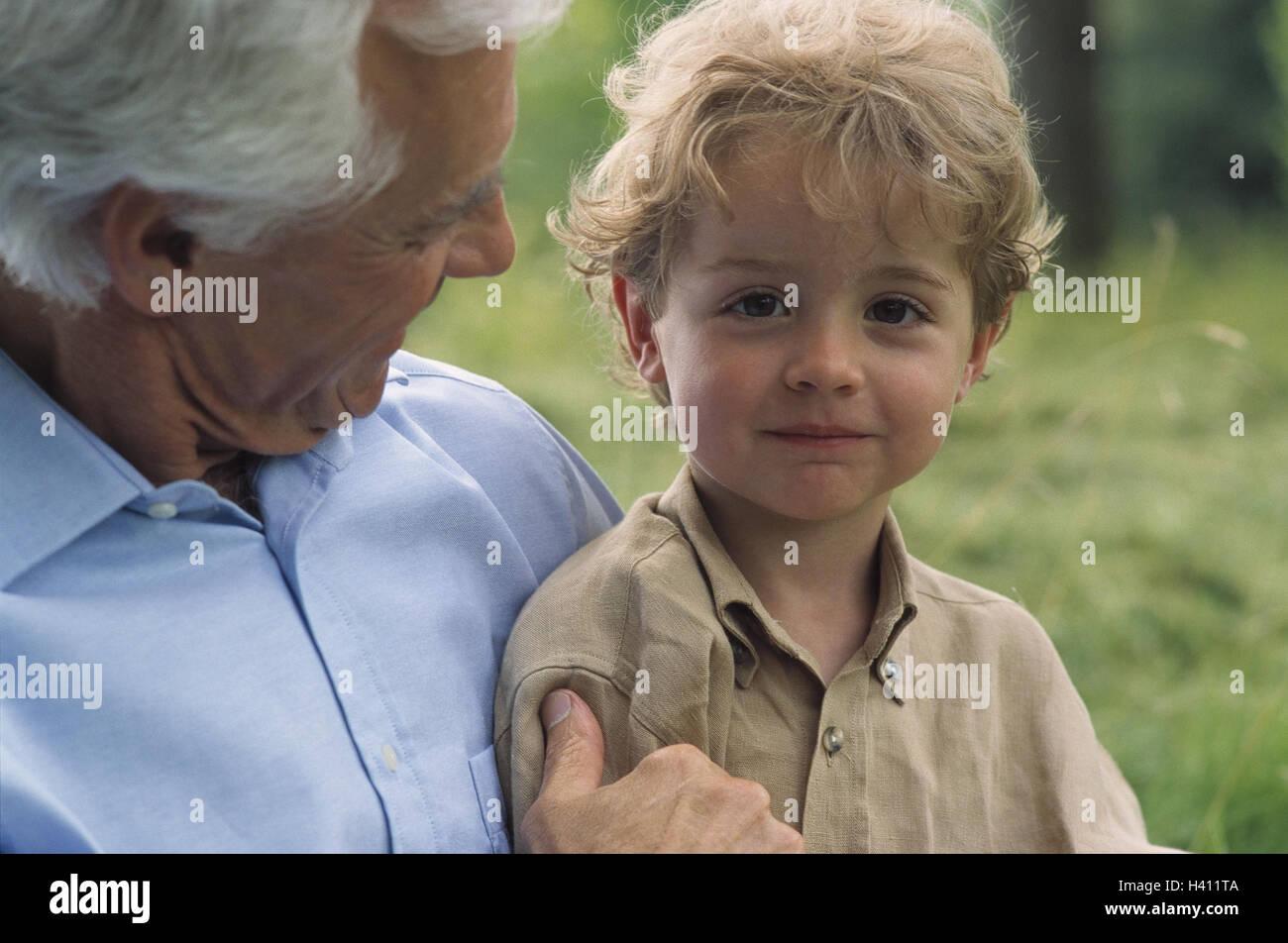 7c4a596bd Grandfather, grandson, happy, fun, portrait, model released, outside ...