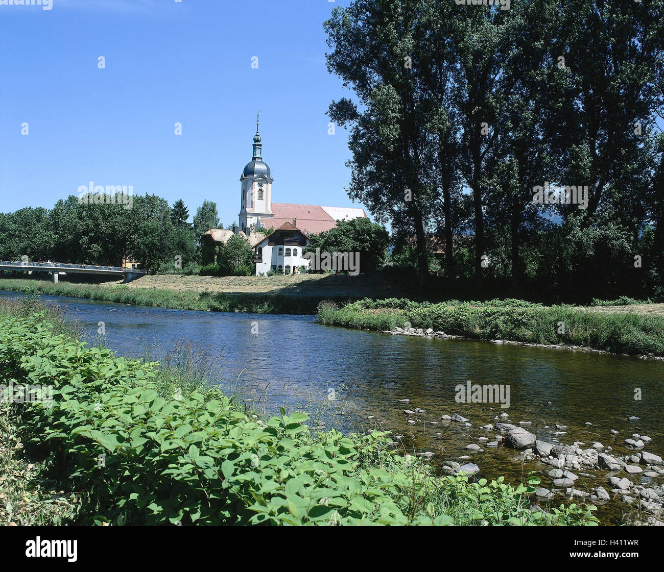 Germany, Baden-Wurttemberg, Gag-exactly, bath Red's bile, church, river, Europe, Black Forest, gag exact bath - Stock Image