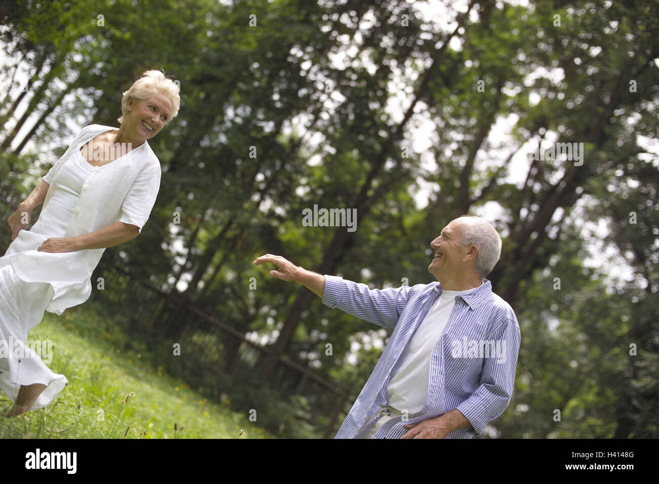 Meadow, Senior couple, play to trap couple, senior citizens, Best Agers, falls in love, gambles away love, partnership, Stock Photo