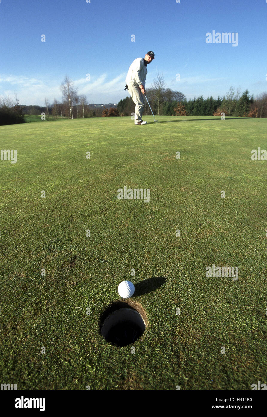 Golf course, golfer, putt, no model put in clink release man, to golfs, Golf, Getting, hole, to Golf, concentration, - Stock Image