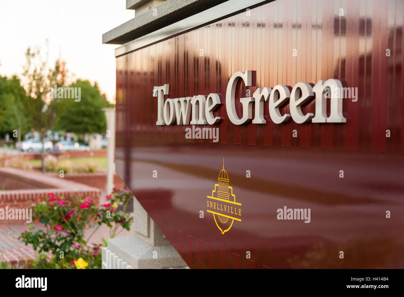 Towne Green signage in front of the City Hall building in Snellville, Georgia, a suburban community east of Atlanta. Stock Photo