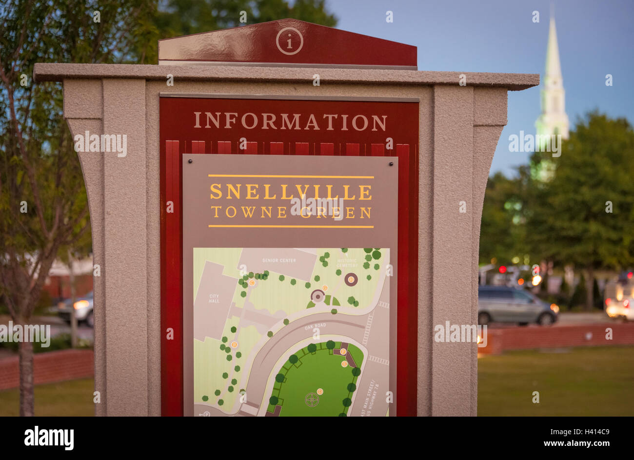 Information signage on the Snellville Towne Green in Snellville, Georgia, a suburban community east of Atlanta. Stock Photo