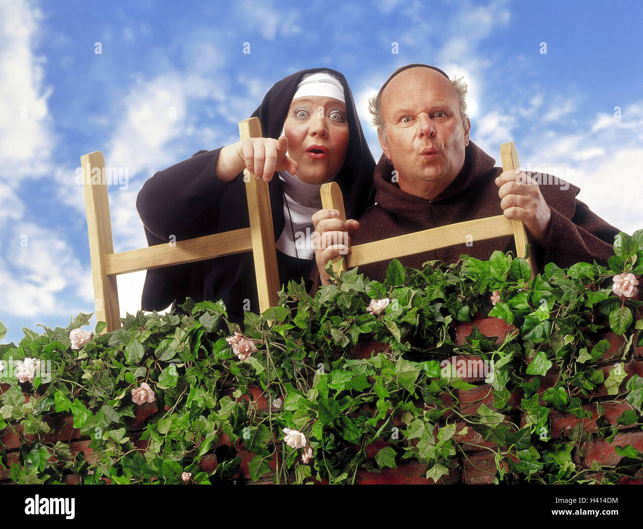 Hedge, monk, nun, conductor, stand, show gesture, astonishment, Composing, professions, studio, order woman, cloister Stock Photo