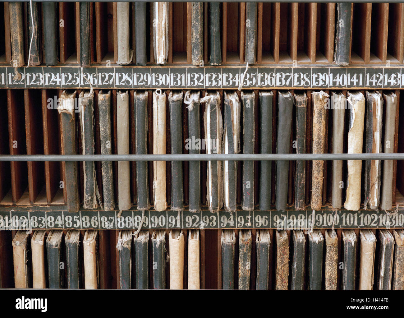Weaving mill, shelf, detail, sample books, numbers, nostalgically, economy, industry, craft, handicraft, manual - Stock Image