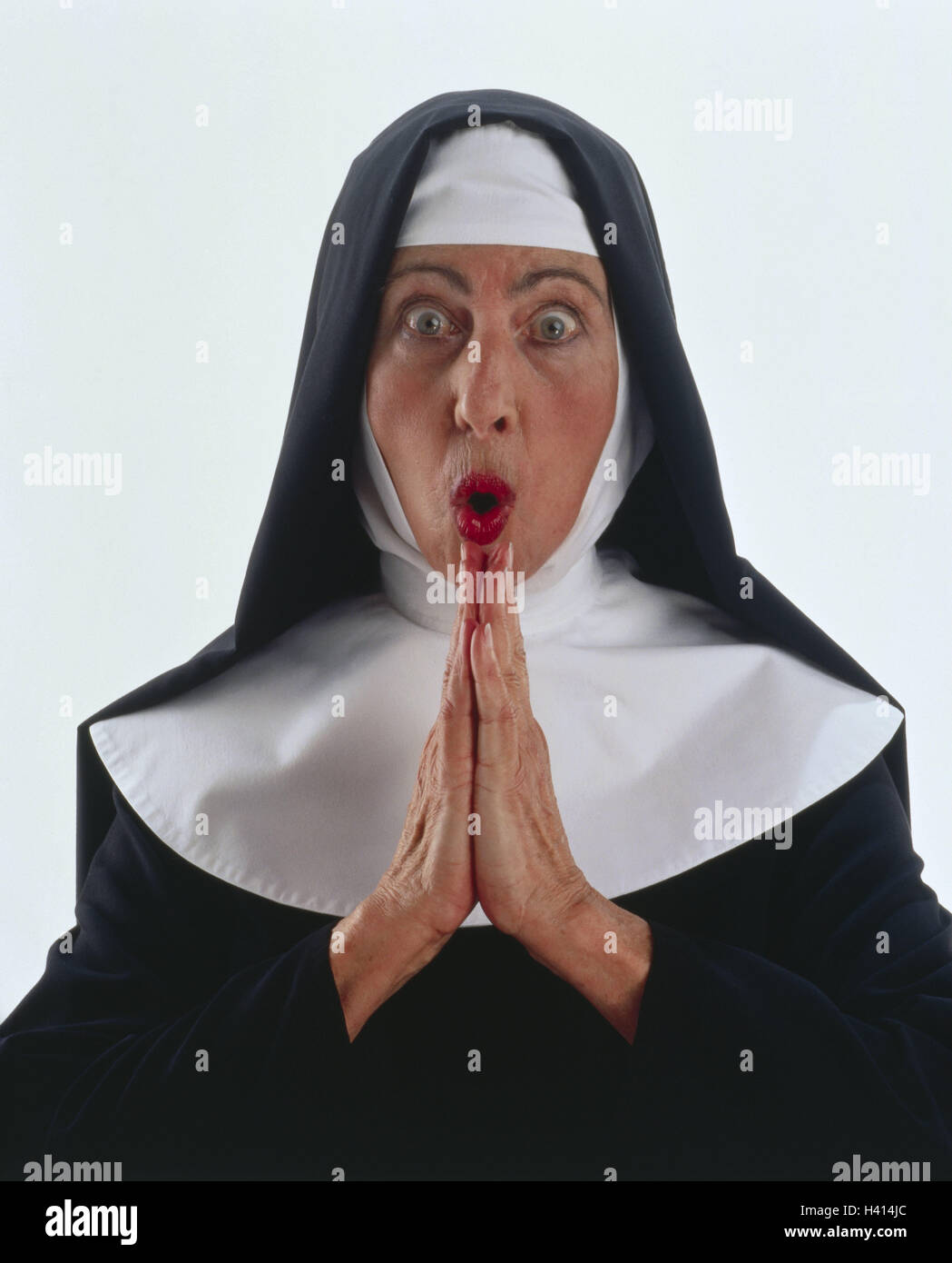 Benedictine, nun, habit, gesture, astonishment, prayer, half portrait, professions, studio, cut out, woman, habit, - Stock Image