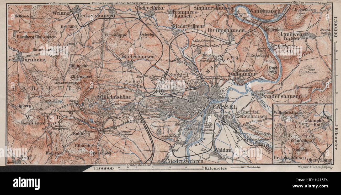 Karte Kassel Und Umgebung.Kassel Cassel Environs Umgebung Hessen Germany Karte 1910 Old
