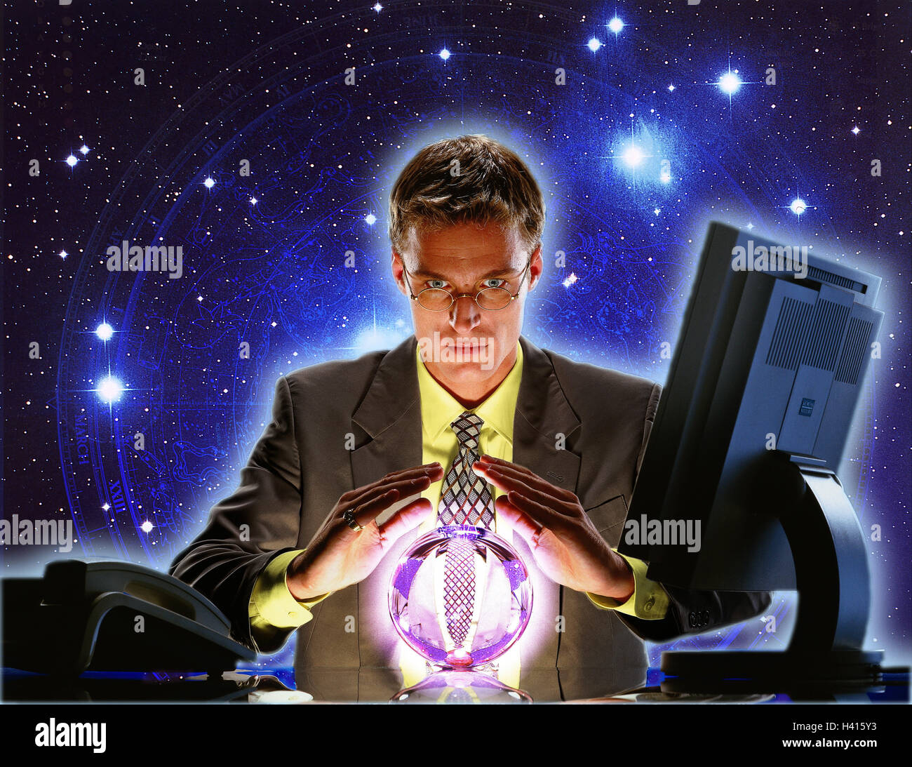 Composing, office, businessman, young, desk, crystal ball, swear, starry skystarry skystarry skies professions, - Stock Image
