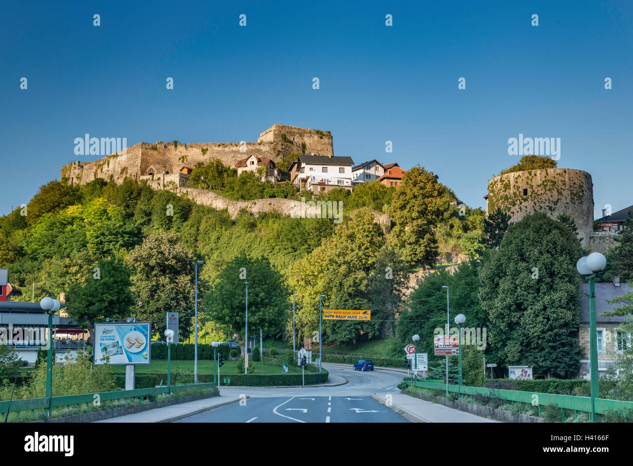 Fortress over town of Jajce, Central Bosnia Canton, Bosnia and Herzegovina - Stock Image