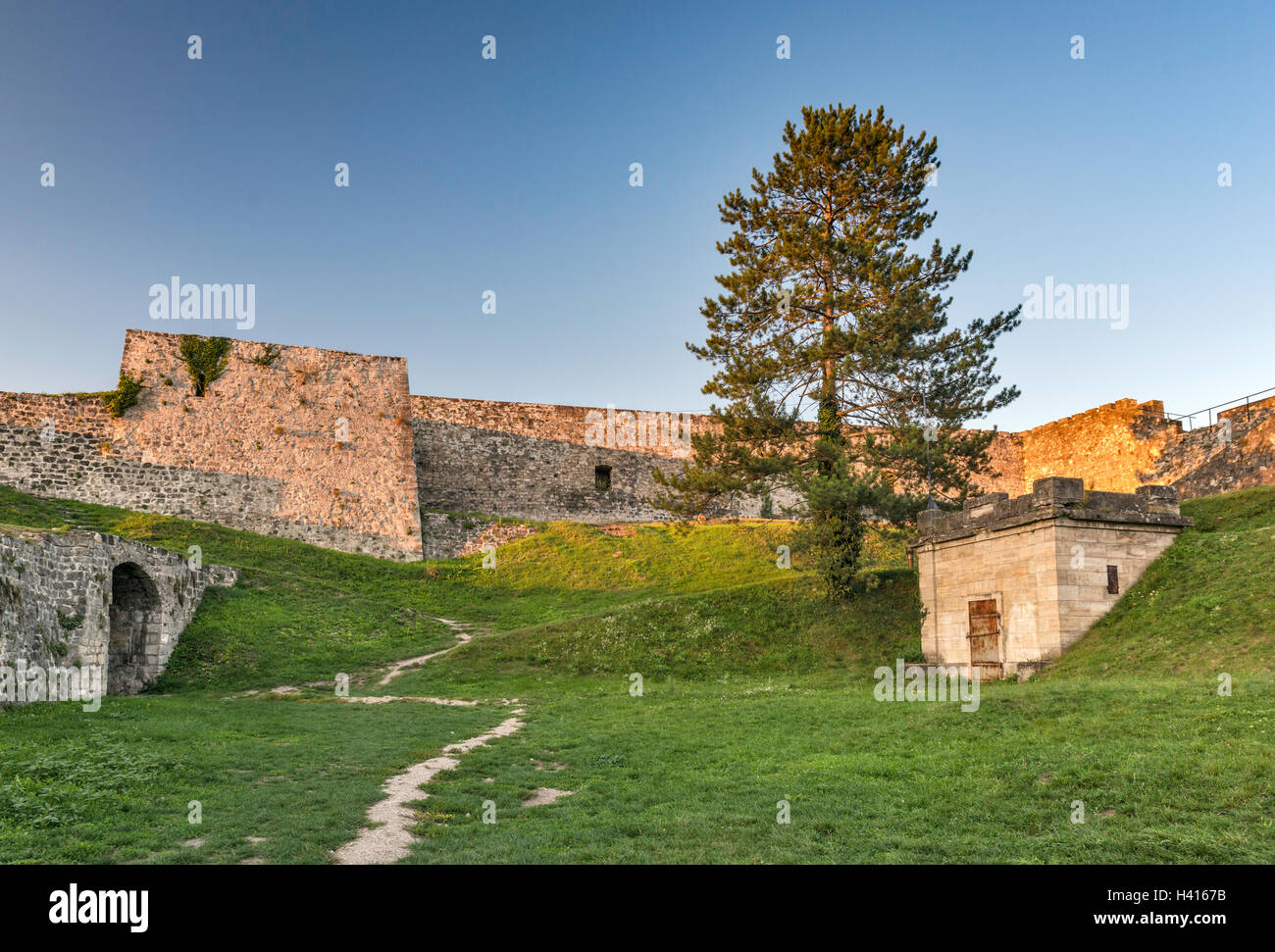 Ramparts at fortress in Jajce, Central Bosnia Canton, Bosnia and Herzegovina - Stock Image