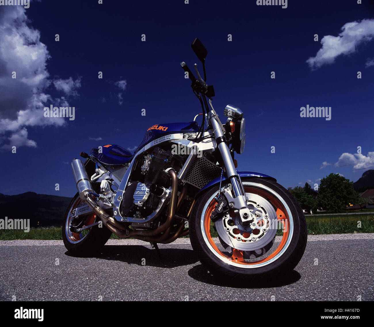 Motorcycle, Suzuki, GSX R 1100, superbike RW mood, outside, 2 force, motorcycle, automobile, motorcycle type, tuned Stock Photo