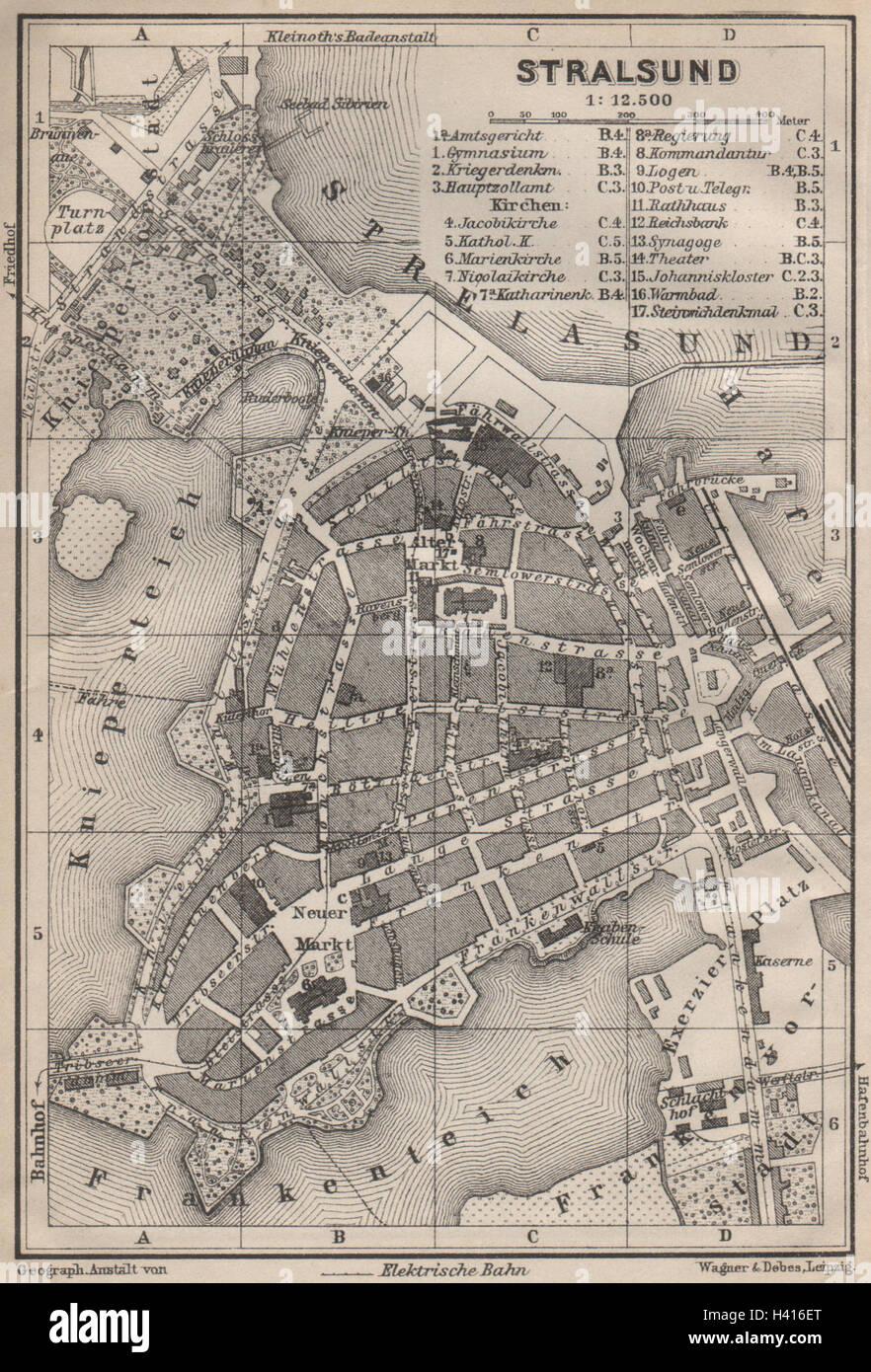 STRALSUND antique town city stadtplan. Mecklenburg-Vorpommern karte ...