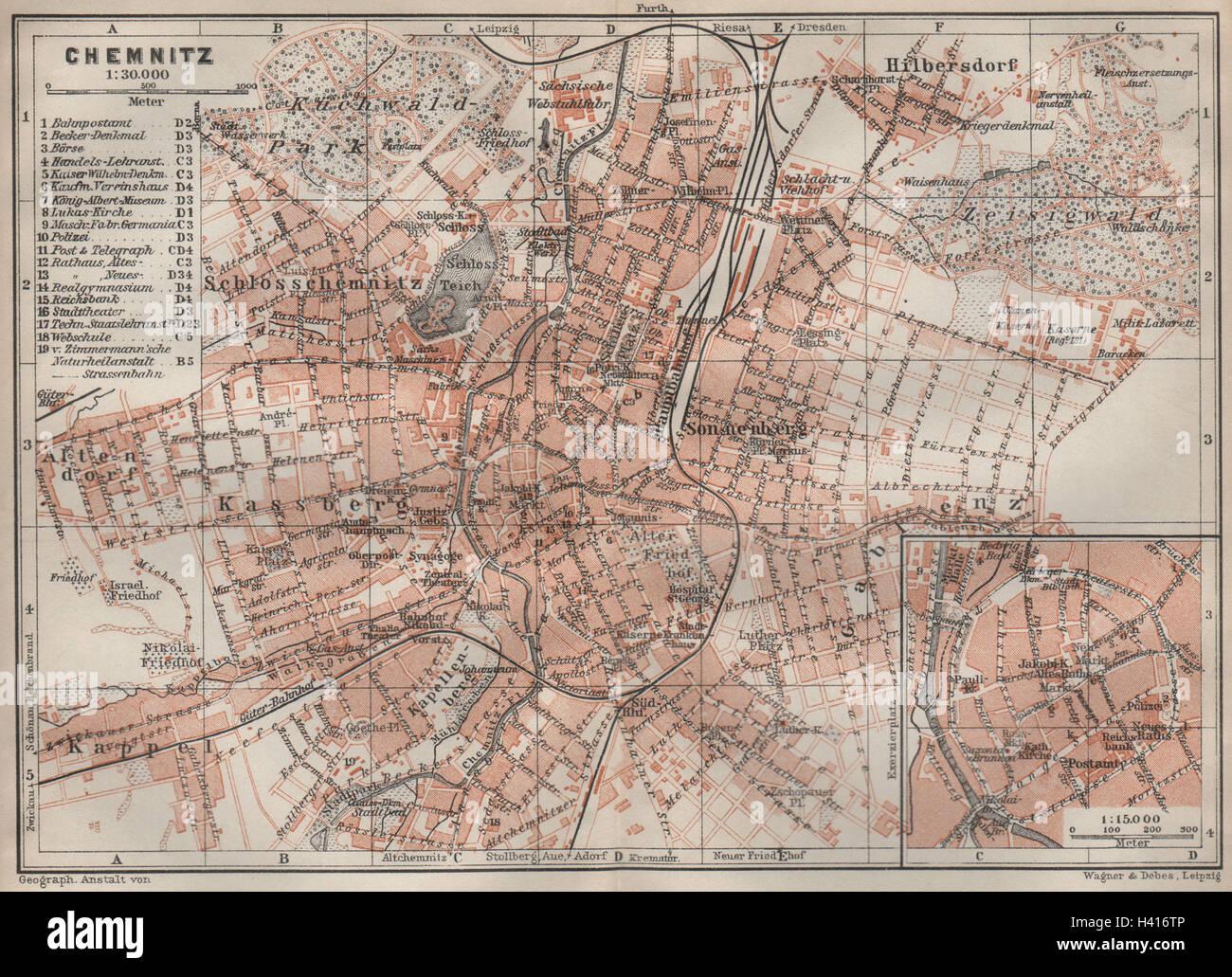 Chemnitz Karte.Chemnitz Antique Town City Stadtplan Saxony Karte Baedeker