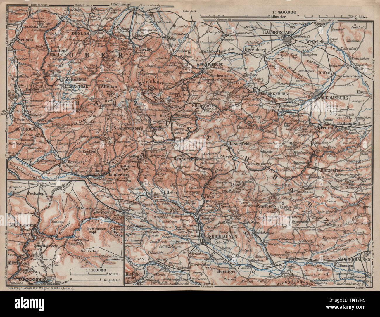 Nordhausen Karte.Harz Mountains Topo Map Harzgerode Halberstadt Nordhausen Karte