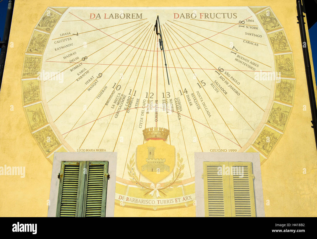 Great sun dial with the display of the annual cycle of the production of wine, Barbaresco, Piedmont, Italy - Stock Image