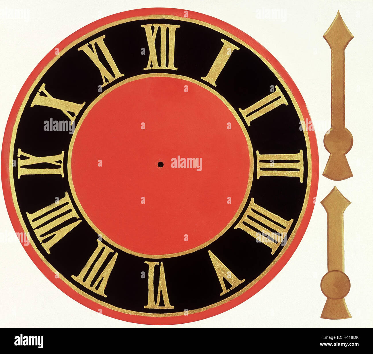 Clock, dial, pointer loose digits, Roman, time, time, prefabricated parts, compose, assemble, conception, timeless, - Stock Image