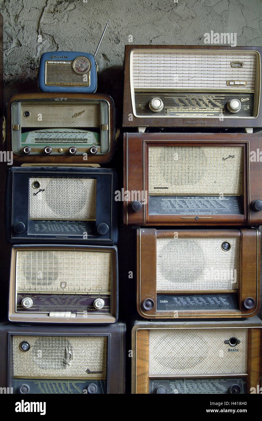 Nostalgia, radio sets, stacked, radios, radio broadcasting, radios