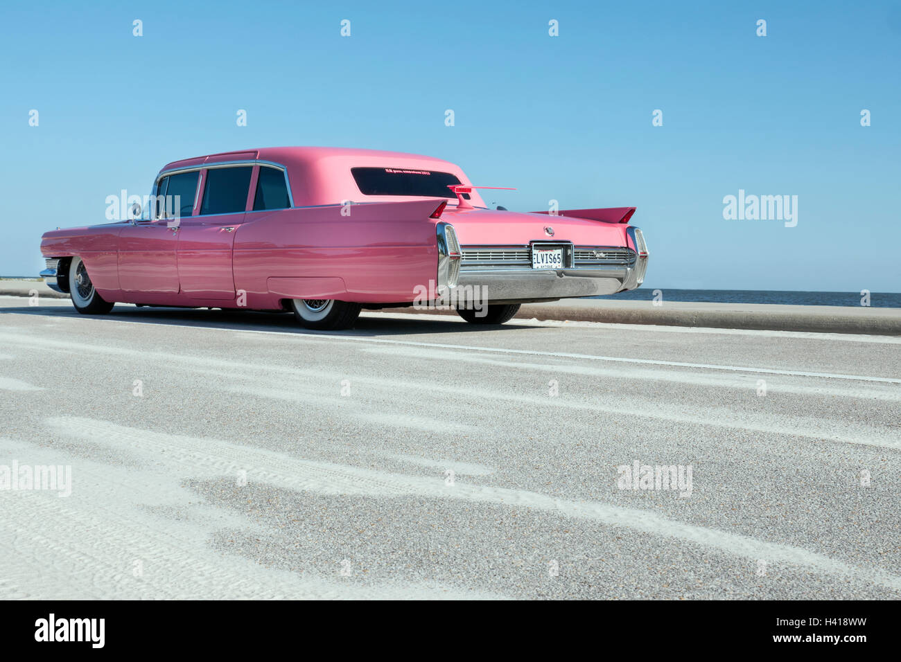 1965 Pink Cadillac Sedan Stock Photo