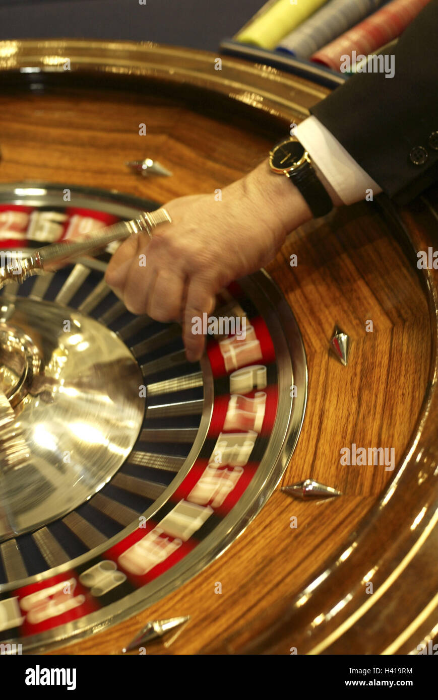Casino, roulette, croupier, detail, hand, blur casino, game chance, game, risk, chance, roulette game, roulette, - Stock Image
