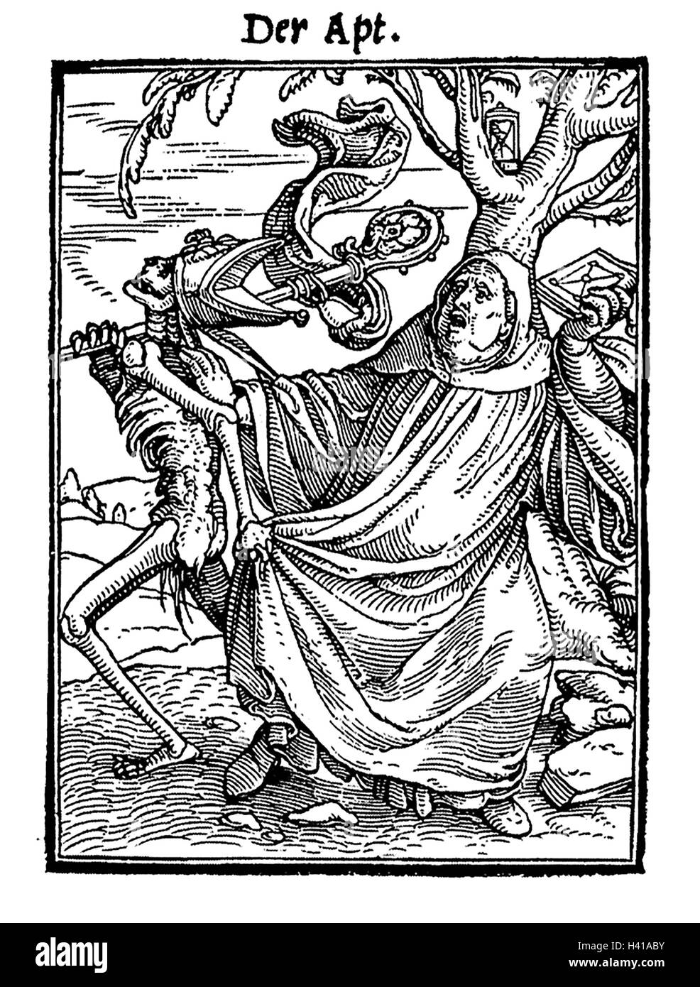 DANCE OF DEATH woodcut by Hans Holbein 1549 - the Abbot - Stock Image