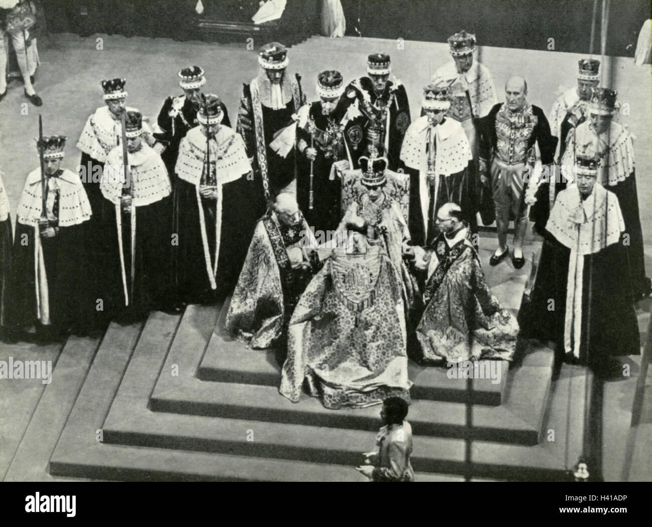 CORONATION OF QUEEN ELIZABETH II at Westminster Abbey 2 June 1953 - Stock Image