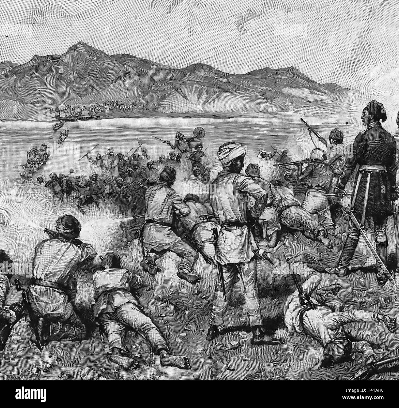 CHARLES GEORGE GORDON (1833-1885) British Army officer. His mixed Egyptian forces defeating Mahdi forces trying - Stock Image