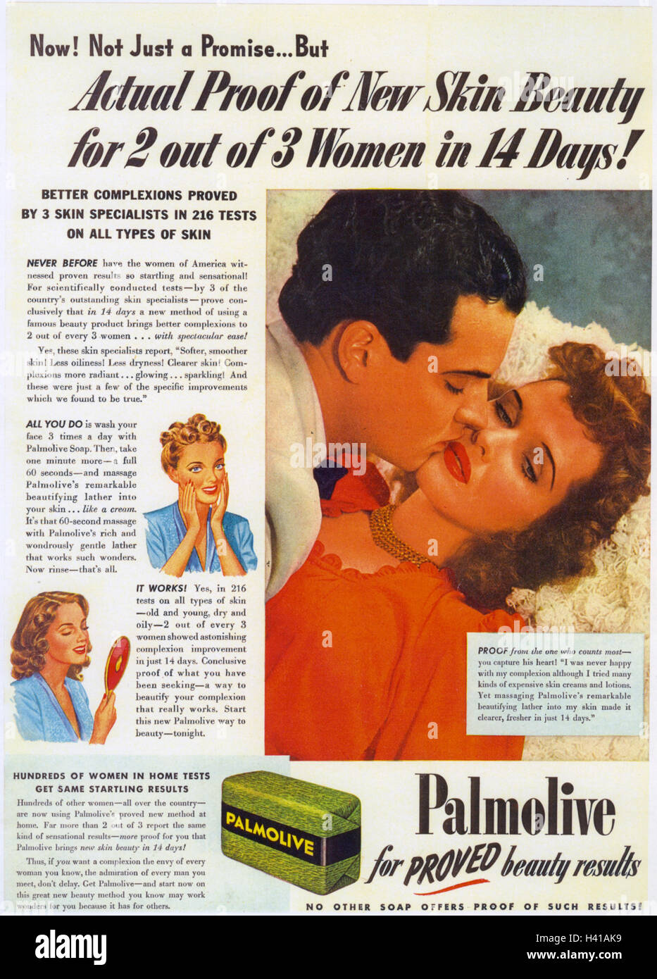 PALMOLIVE SOAP advert about 1945 - Stock Image