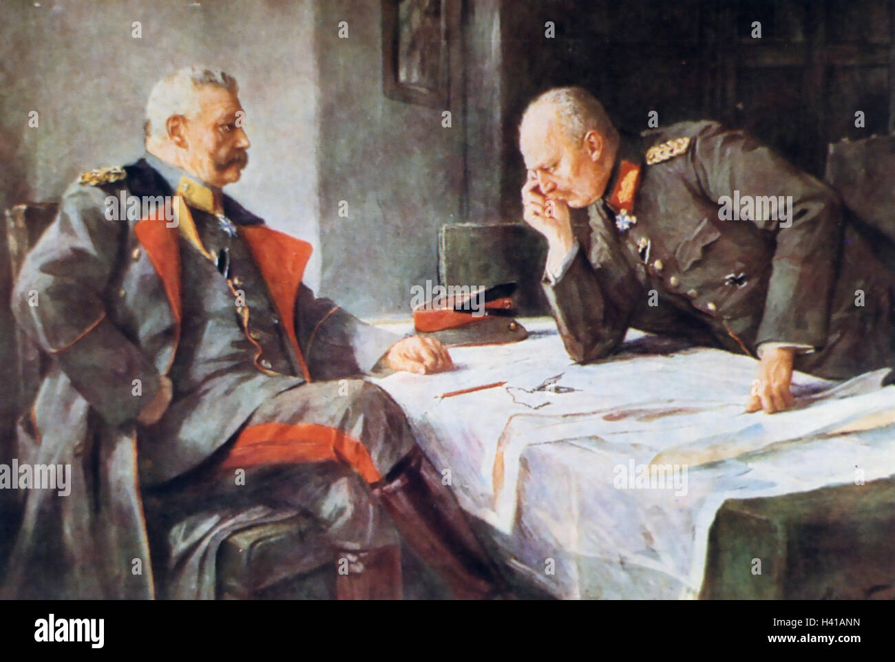 PAUL von HINDENBERG (1847-1934) German commander in WWI at left with his Chief of Staff Erich von Ludendorff painted - Stock Image