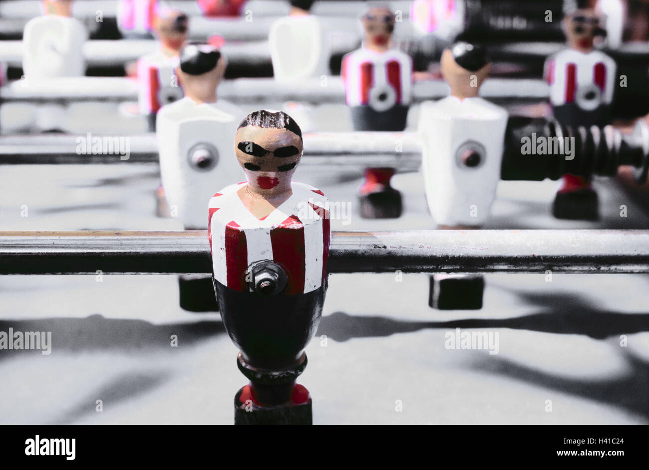 Table football, detail, table football match, football player, leisure time, entertainment, game, sticks, figures, - Stock Image