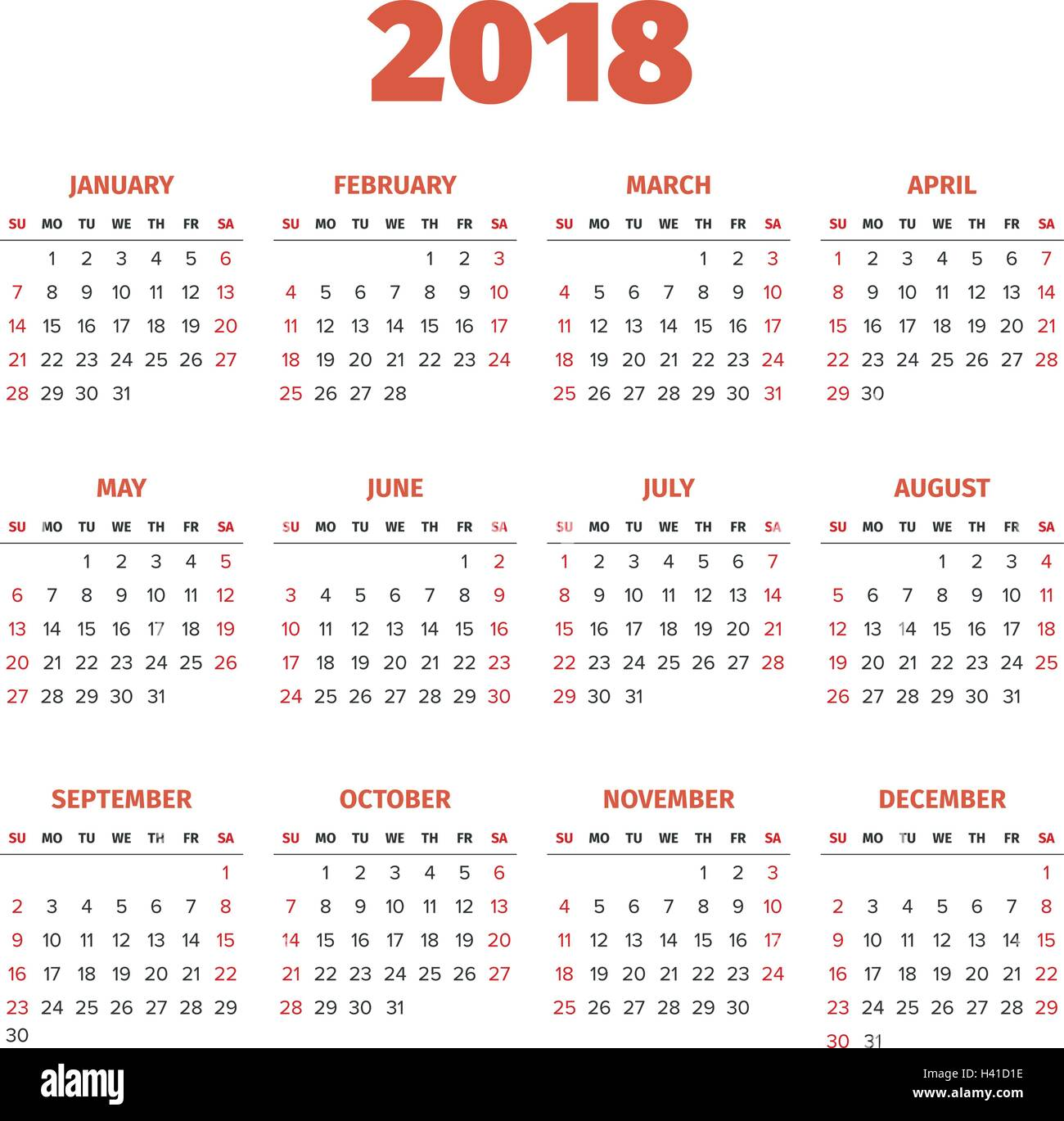 Simple 2018 Year Calendar Stock Vector Art Amp Illustration