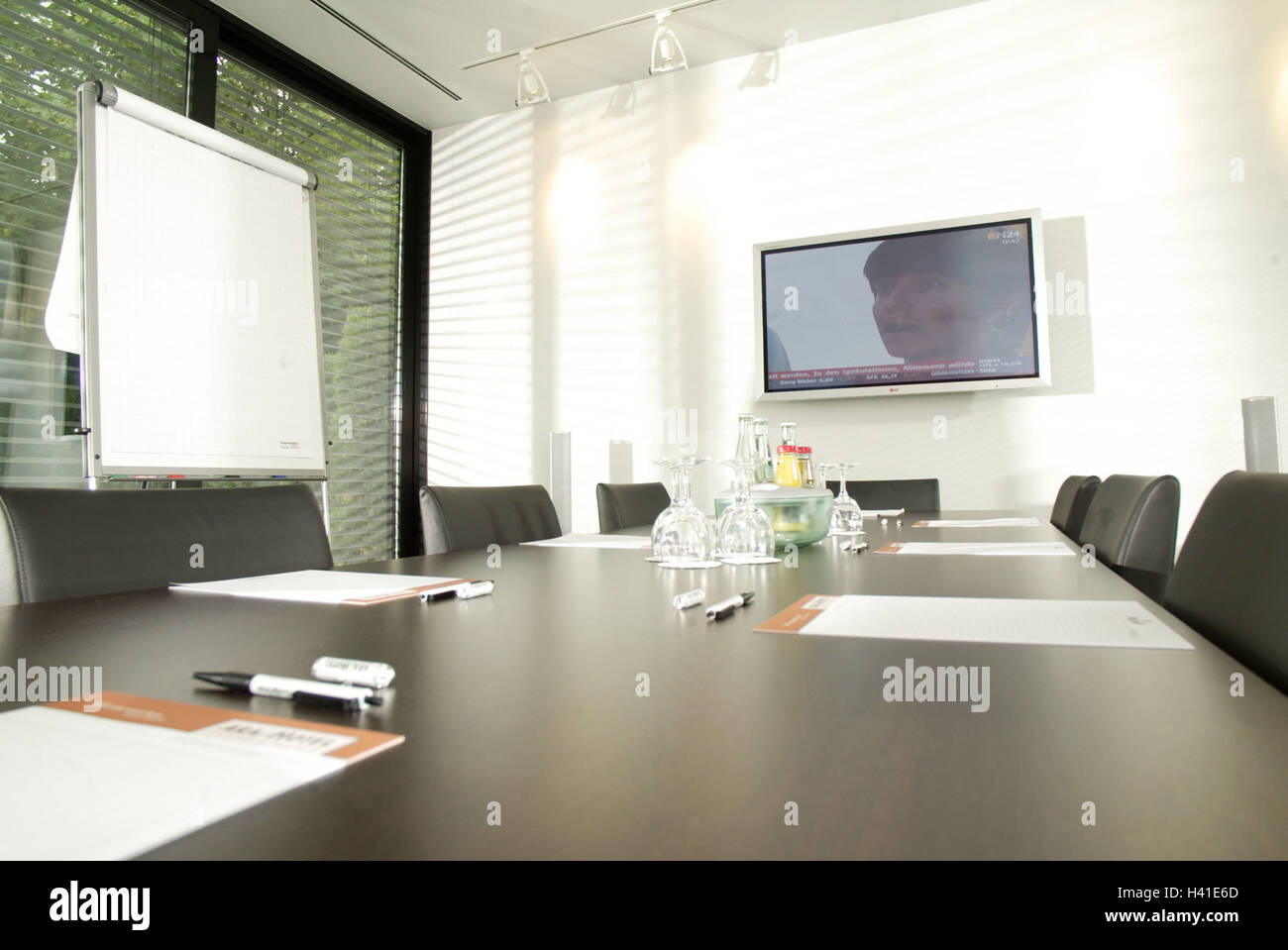 Meeting Room Conference Table Chairs Detail Glasses Drinks - Office meeting table and chairs