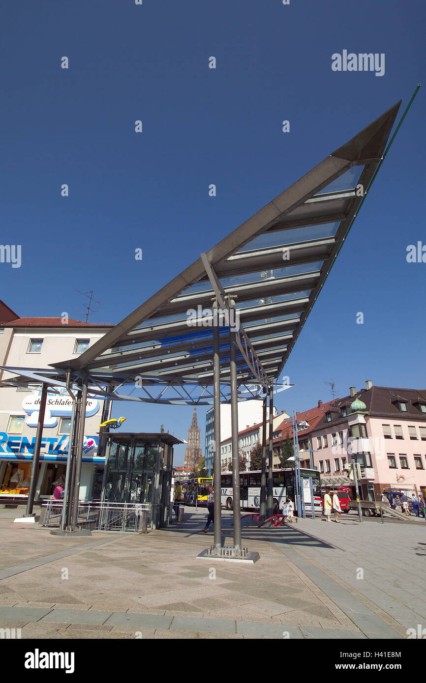 Germany, Baden-Wurttemberg, Neu-Ulm, Peter's space, spike roof structure, Europe, town, space, stop, bus stop, roofs, Stock Photo