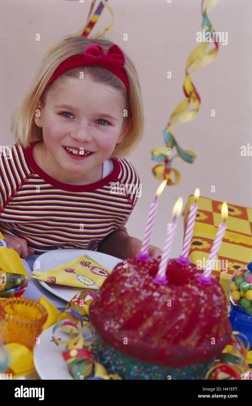 Childrens Birthday Party Girl Half Portrait Birthday Cake Stock