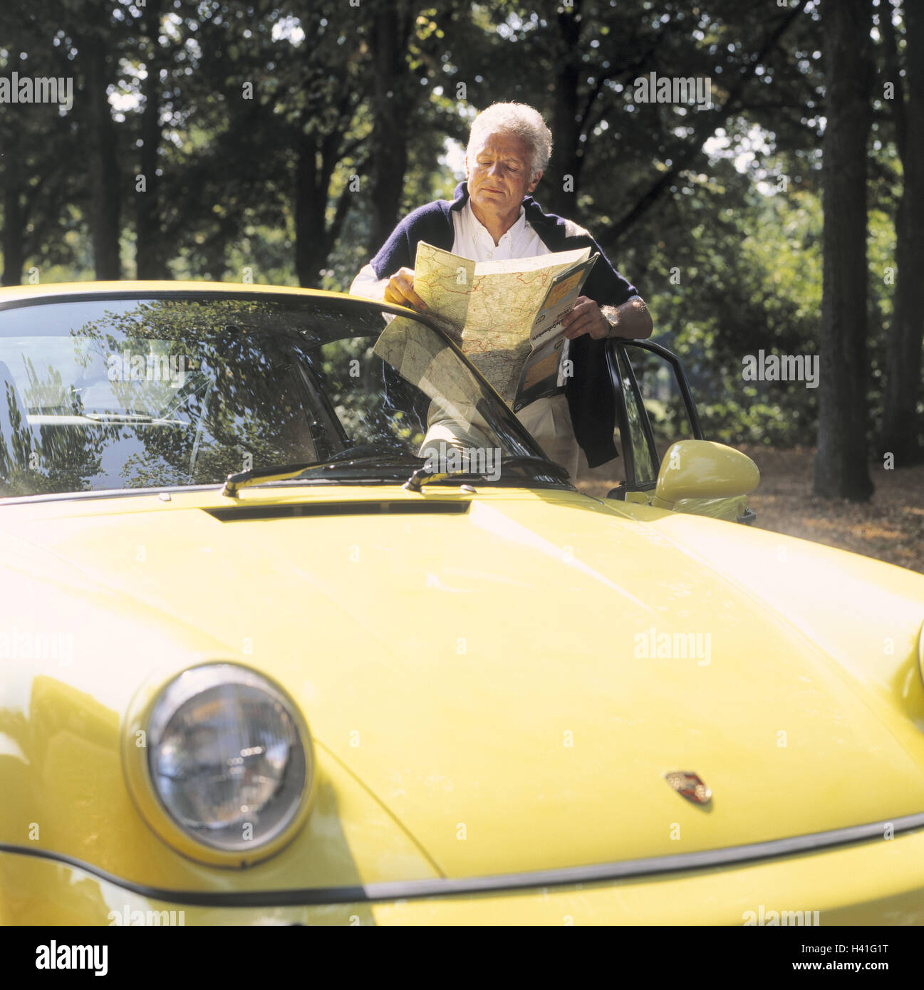 Man, Middle Old Person, Map Read, Porsche, No Property Release, 40 50 Years,  Grey Haired, Businessman, Well To Do, Wealth, Luxury, Luxury Car, Passenger  Car ...