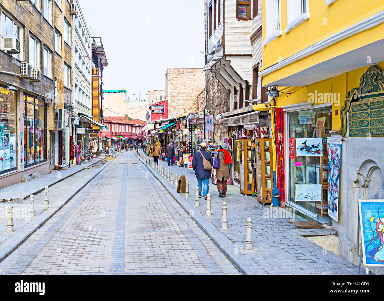 The Taya Hatun street is famous for the local bazaar and interesting Flea Market in Istanbul. Stock Photo