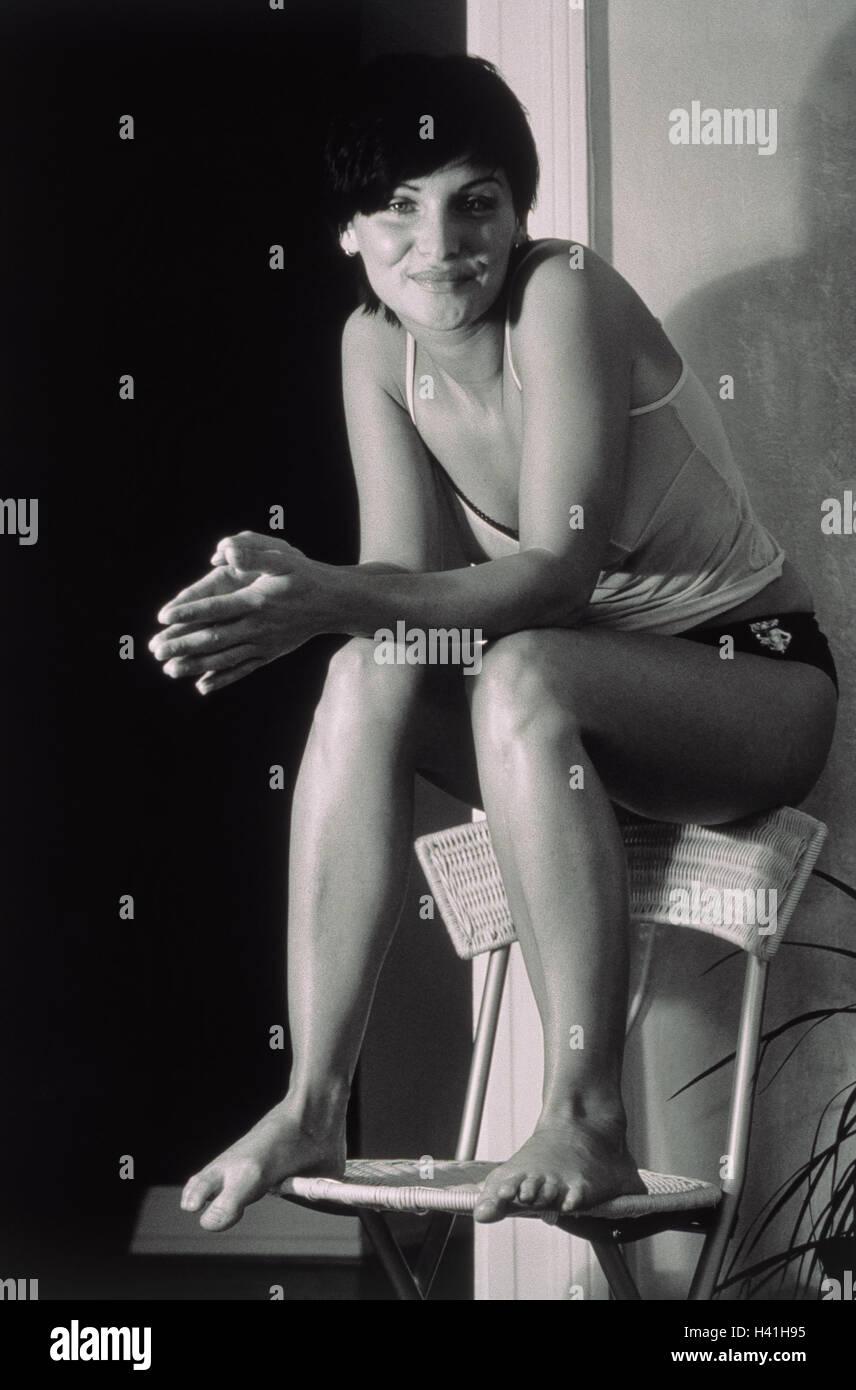 Woman, backrest, sit, s/w, - Stock Image