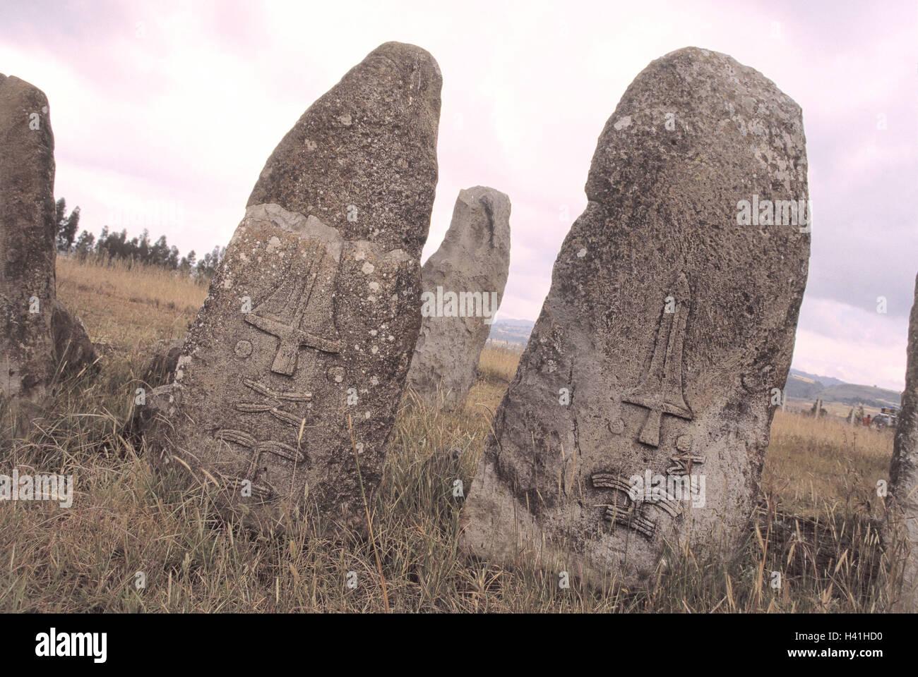 Ethiopia, Tiya, monoliths, Africa, north-east, Africa, Ityopia, south Ethiopia, Teya, Sodo region, UNESCO-world - Stock Image