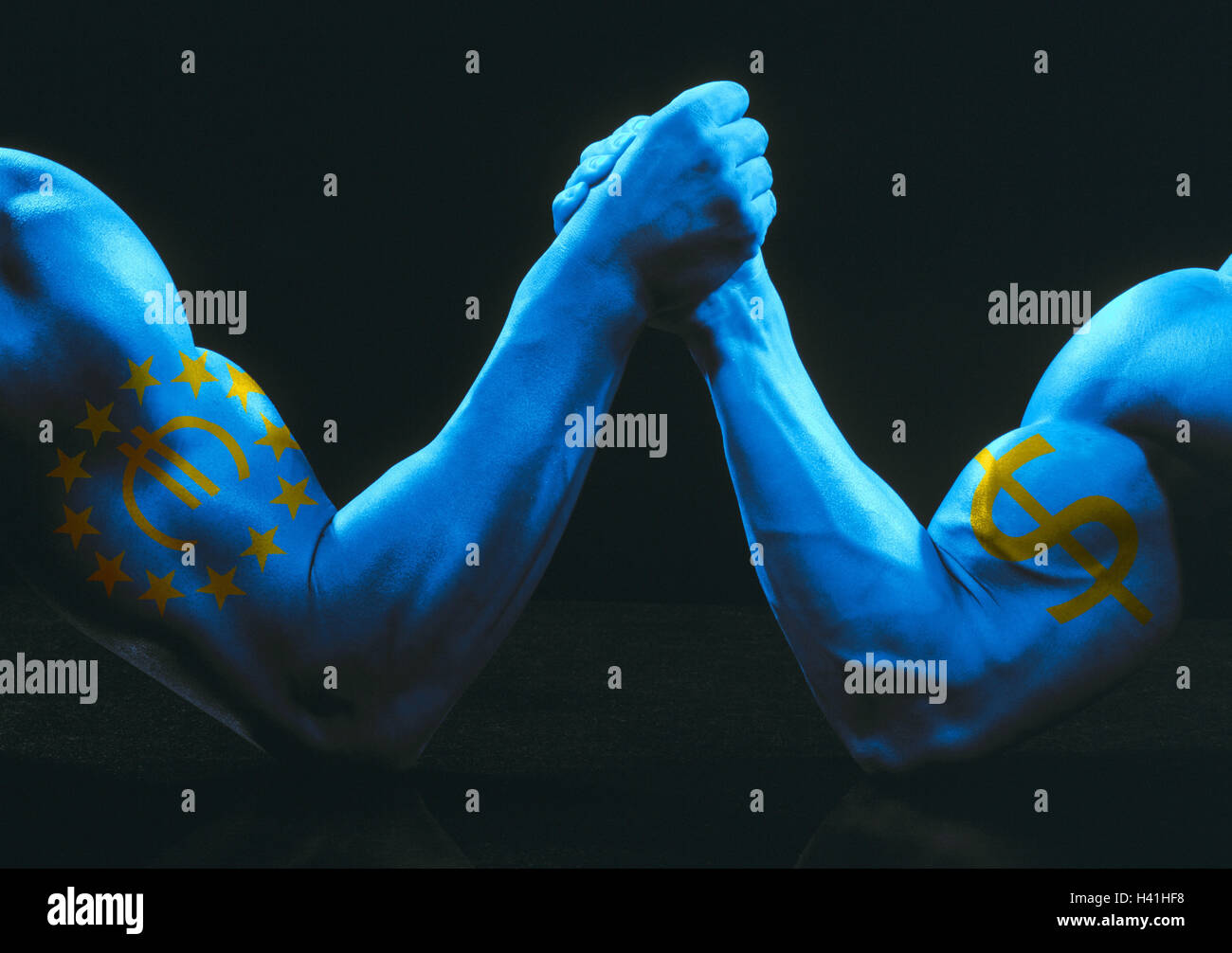 Men, athletic, detail, Indian wrestling, biceps, icons, euro, dollar, man's arms, icon, conception, contention, - Stock Image