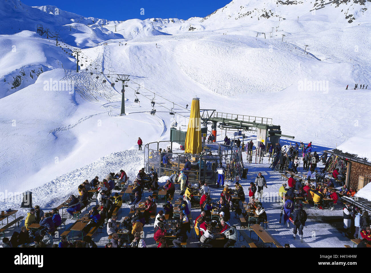 austria, vorarlberg, montafon, skiing area-high-level col stock