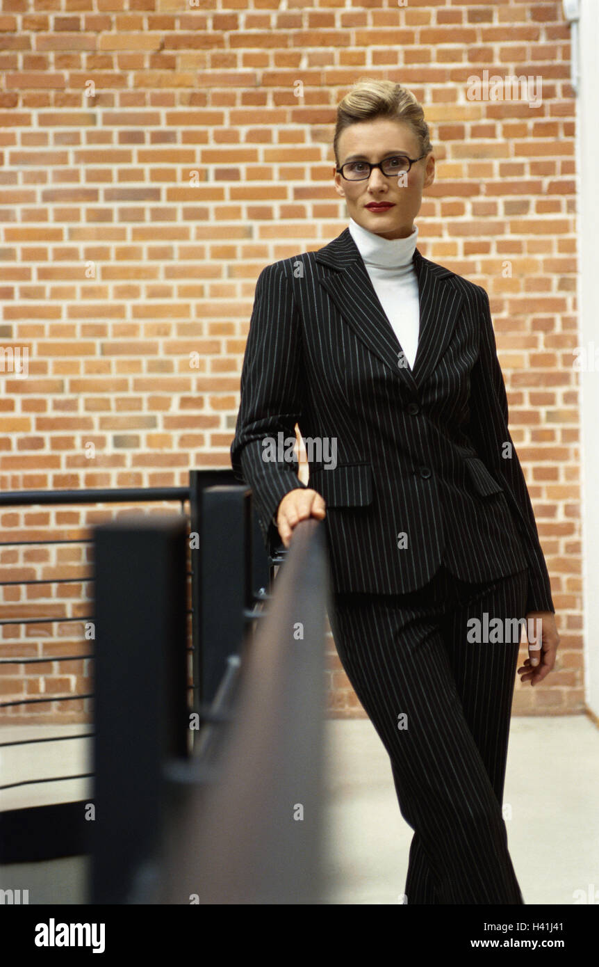 Stairwell Woman Glasses Suit Strict Business Occupation